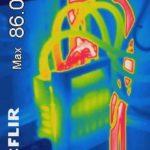 Thermografie überhitzten Sicherungsanschlüssen.